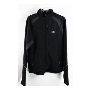 North Face Black Gray Soft Shell Track Jacket S